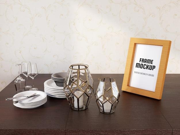 Maquete de moldura de foto realista na mesa