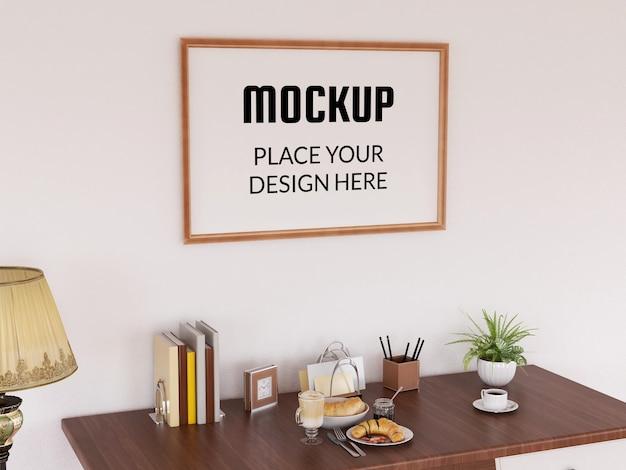 Maquete de moldura de foto realista na moderna sala de estar