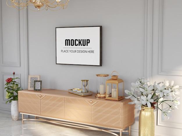 Maquete de moldura de foto realista na sala de estar