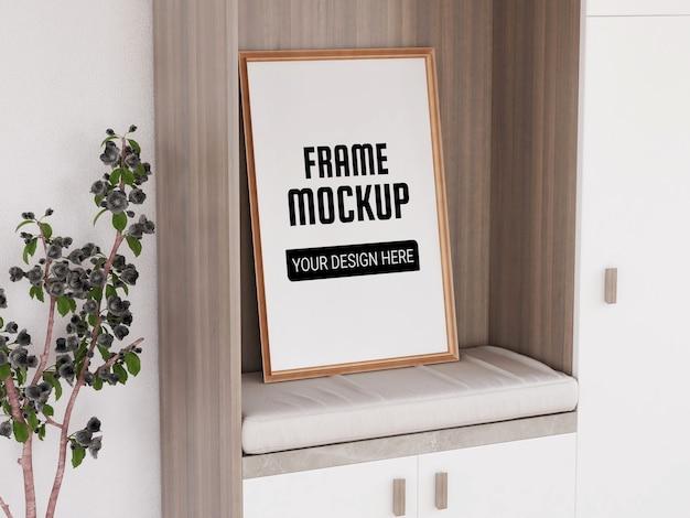 Maquete de moldura de foto realista no guarda-roupa
