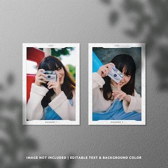 Maquete de moldura de papel de retrato duplo com sombra