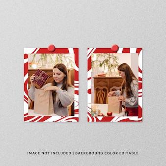 Maquete de moldura de papel de retrato duplo para o natal