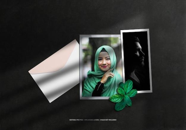 Maquete de moldura de papel para foto com envelope e sobreposição de sombra