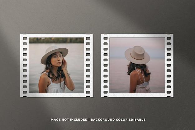 Maquete de moldura de papel quadrada de filme clássico com sombra