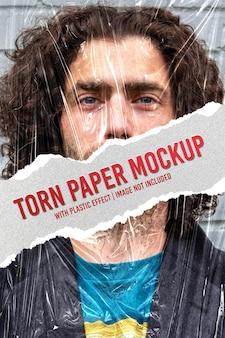 Maquete de moldura de papel rasgado com efeito rasgado premium psd Psd Premium