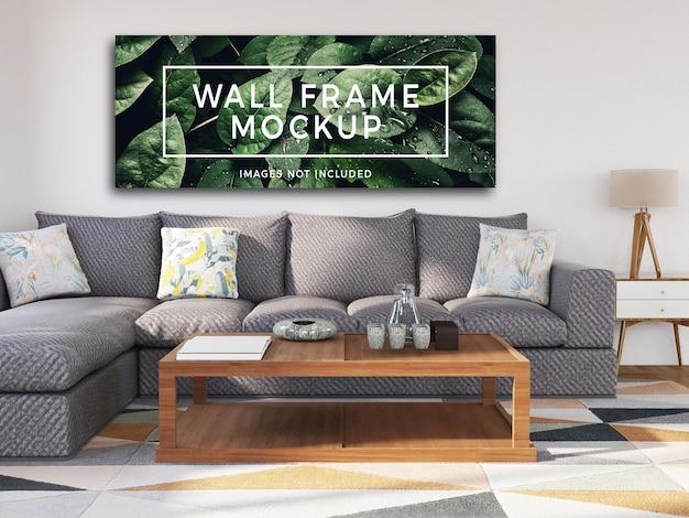 Maquete de moldura de parede com sofá moderno
