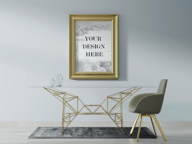 Maquete de moldura de parede dourada com móveis modernos