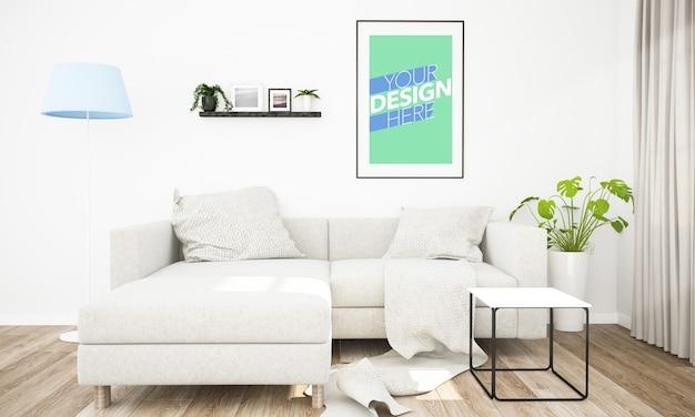 Maquete de moldura de pôster na sala de estar