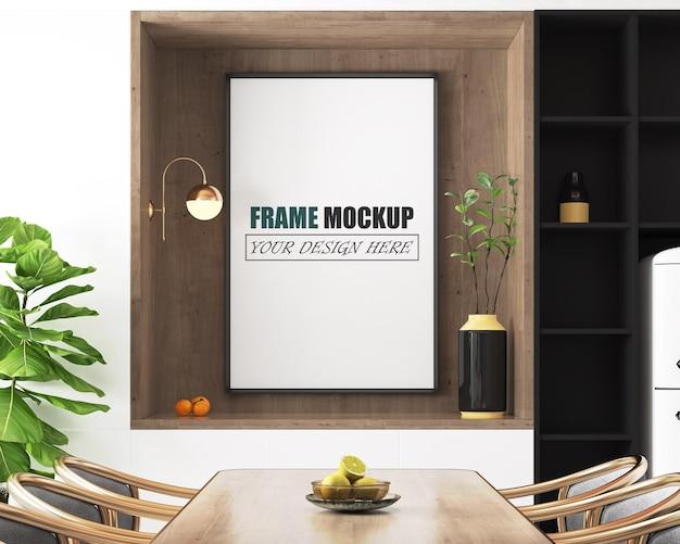 Maquete de moldura de sala de jantar moderna