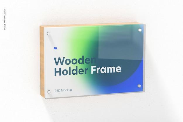 Maquete de moldura de suporte de etiqueta de madeira, pendurado