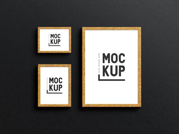 Maquete de moldura dourada minimalista