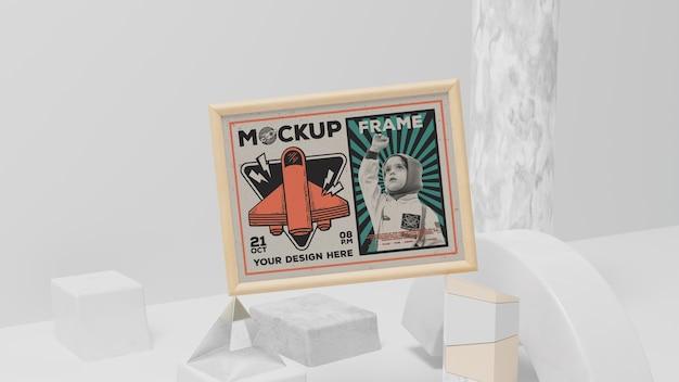 Maquete de moldura e elementos vintage