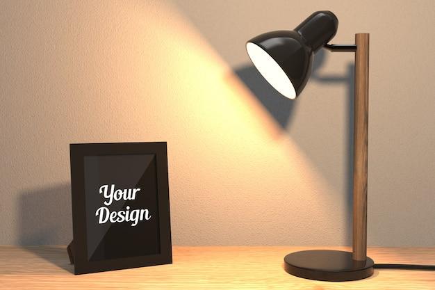 Maquete de moldura e lâmpada
