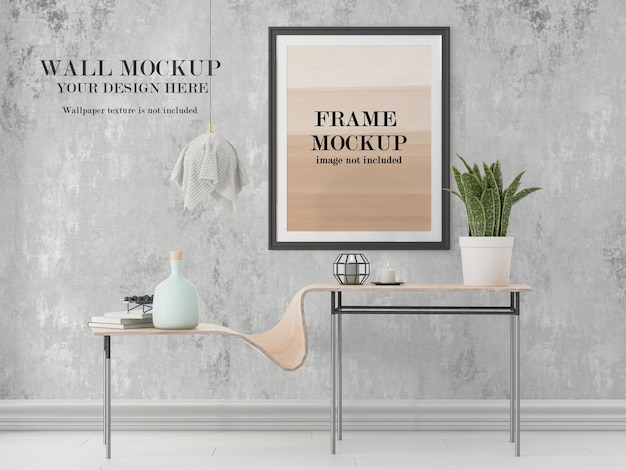 Maquete de moldura e parede para suas idéias de design