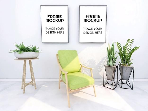 Maquete de moldura em branco com planta e cadeira
