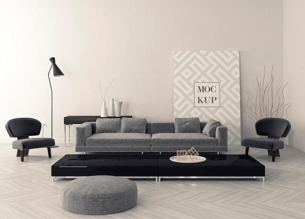 Maquete de moldura em design de interiores de sala de estar