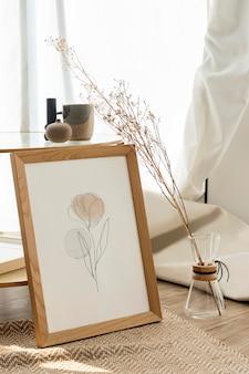 Maquete de moldura estética psd linha arte flor tulipa desenho decoração de sala de estar