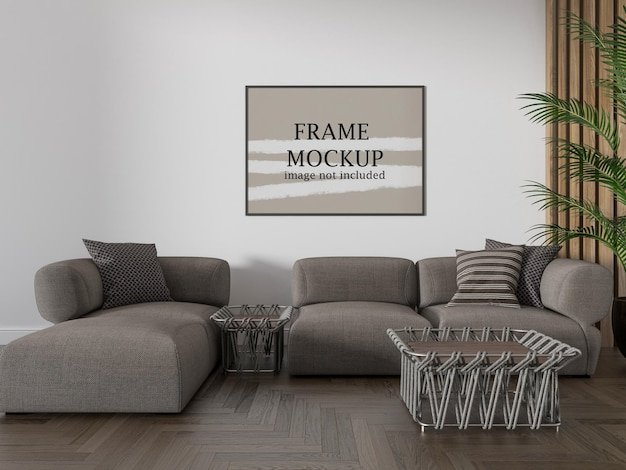 Maquete de moldura horizontal acima do sofá