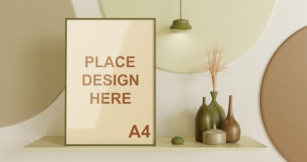 Maquete de moldura na mesa de parede com decoração de vaso