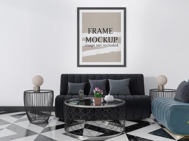 Maquete de moldura preta acima do sofá preto