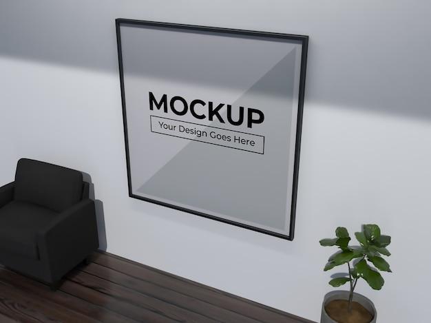 Maquete de moldura quadrada em foto de decoração de parede de quarto realista