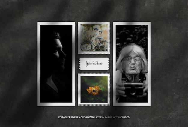 Maquete de molduras de fotos com sobreposição de sombra realista