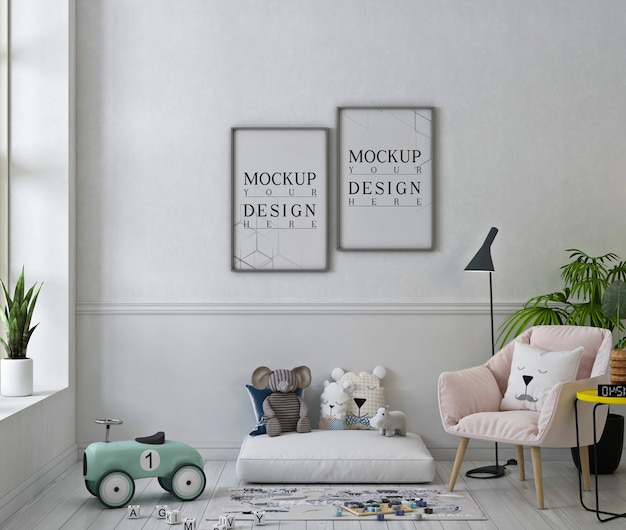 Maquete de molduras de fotos em uma linda sala de jogos com poltrona rosa