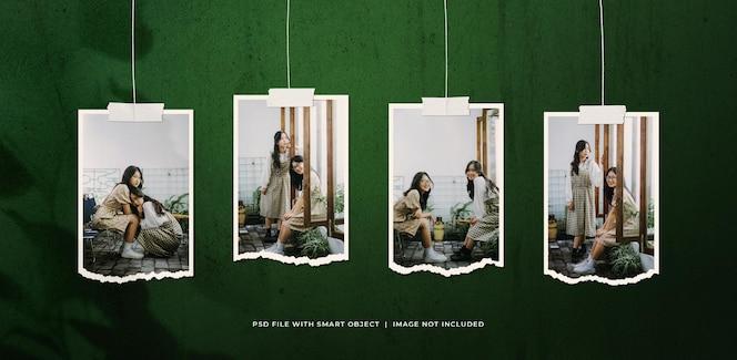 Maquete de molduras de fotos rasgadas de retrato pendurado