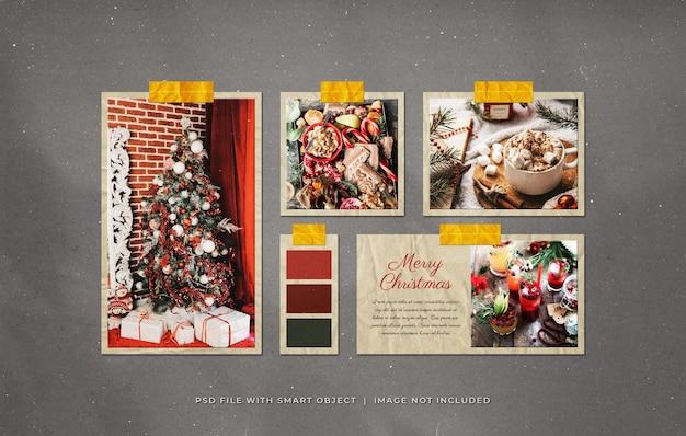Maquete de molduras de papel de foto de saudação de natal