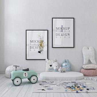 Maquete de molduras de pôster em um lindo quarto de crianças em tons pastel