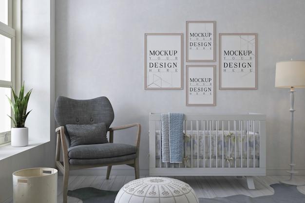 Maquete de molduras de pôster no quarto branco do bebê