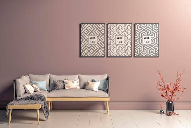 Maquete de molduras de pôsteres no interior da sala de estar em estilo escandinavo