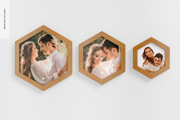 Maquete de molduras para fotos de parede hexagonal, vista frontal