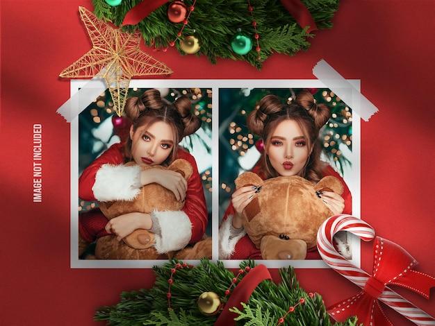 Maquete de moodboard realista e minimalista ou maquete de moldura de papel para feliz natal e feliz ano novo