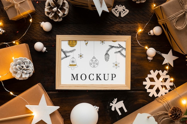 Maquete de natal com decorações fofas de inverno