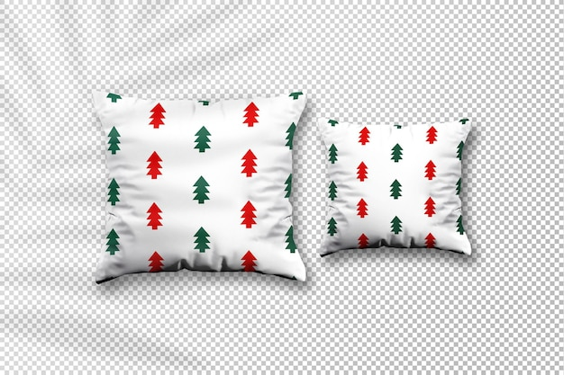 Maquete de natal em tecido de almofada aconchegante com sombra de folhas de palmeira