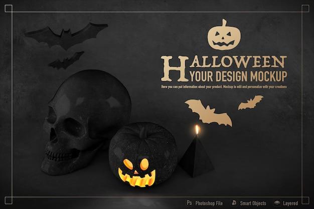 Maquete de natureza morta de halloween isolada em um fundo de cor preta