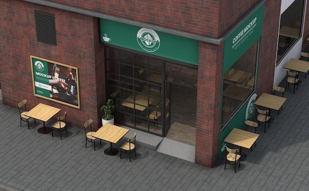 Maquete de negócios de esquina para cafeterias