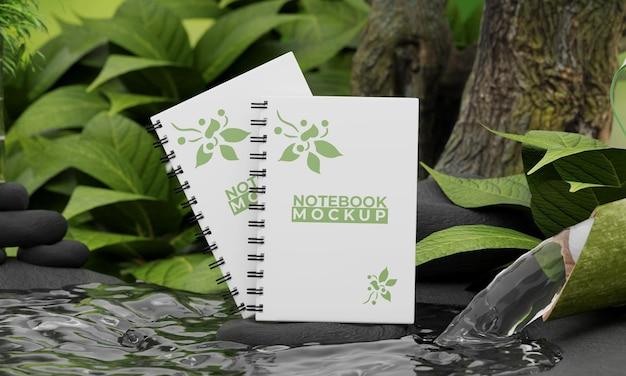 Maquete de notebook com conceito de natureza