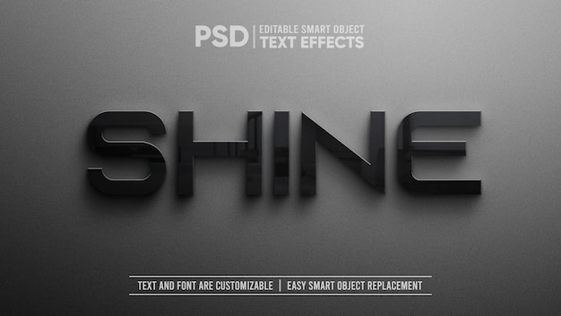 Maquete de objeto inteligente editável de texto em preto elegante preto realista de 3d