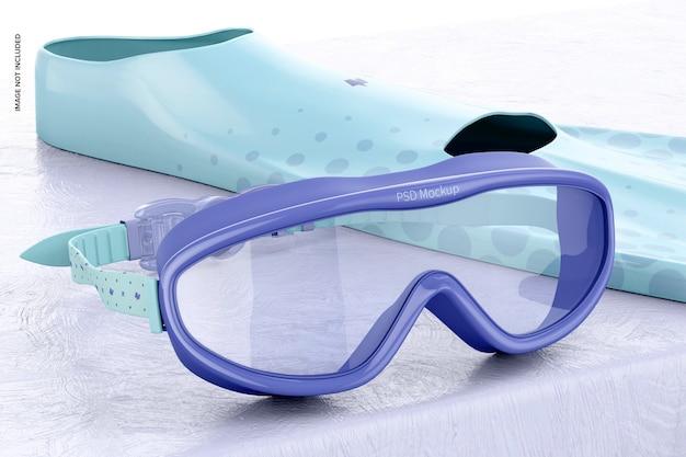 Maquete de óculos de natação, vista esquerda