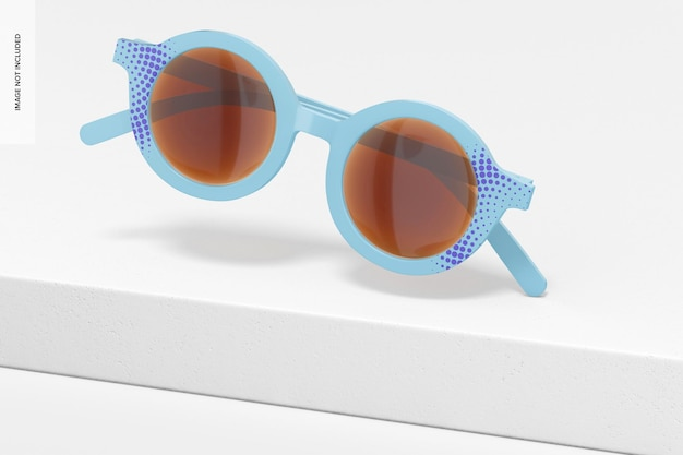 Maquete de óculos de sol infantil, caindo