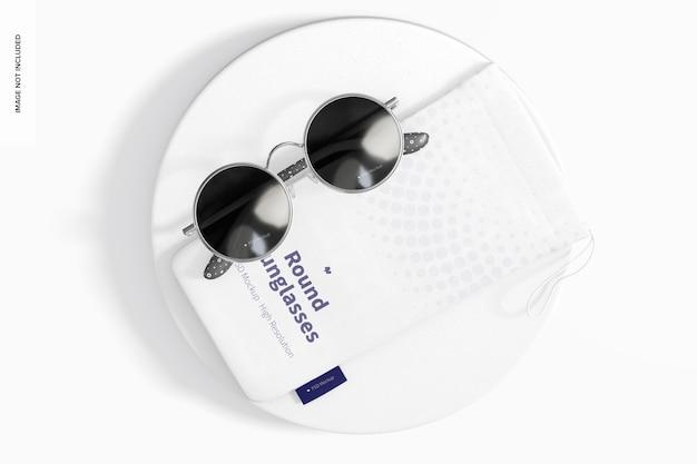Maquete de óculos de sol redondos, vista superior