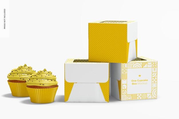 Maquete de one cupcake boxes, fechado