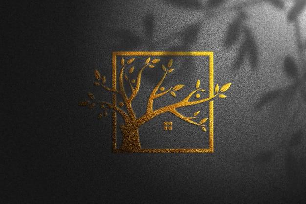 Maquete de ouro logotipo preto papel