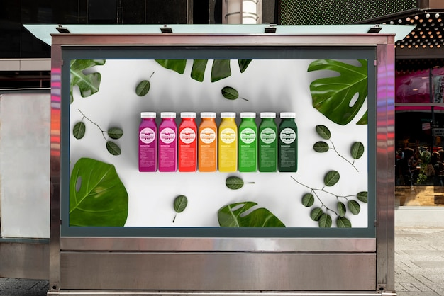 Maquete de outdoor com smoothies coloridos