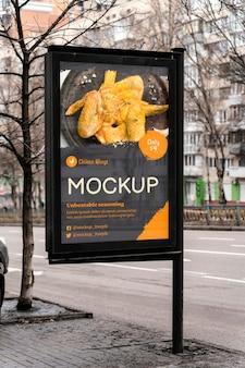 Maquete de outdoor de comida da cidade