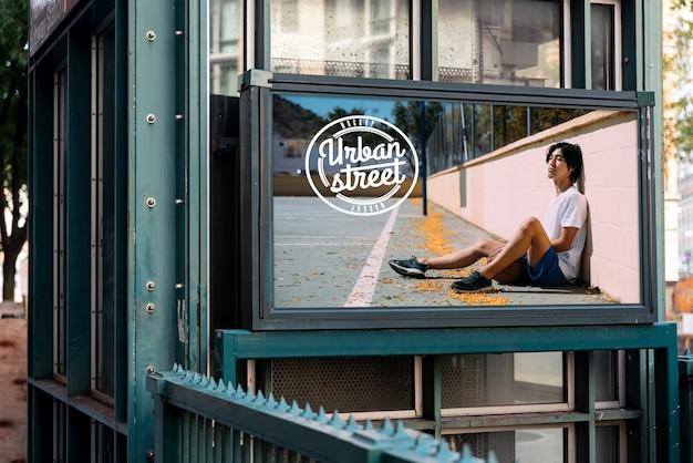 Maquete de outdoor de rua urbana