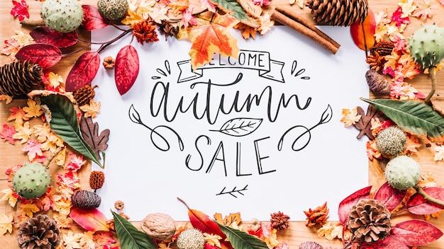 Maquete de outono com bordas de folhas