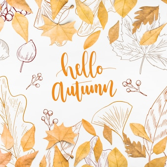 Maquete de outono com folhas